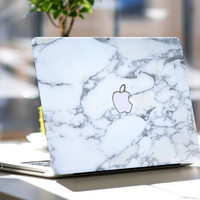 """Bianco Sivec White Marble Skin for Apple Macbook Air & Mac Pro Retina, New Macbook 12"""" , Toshiba HP Dell Asus Acer Lenovo Samsung"""