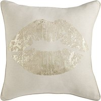 Gold Foil Lips Pillow - Natural