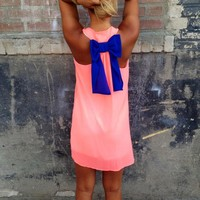 Neon Pink with Royal Bow Back Tank Dress