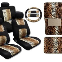 Tan Leopard Cool Fur Print on Black Mesh - Comfy Knit Cloth - Front Pair Bench Steering Wheel Set PLUS 4pc Leopard Floor Mats Fits Jeep Liberty