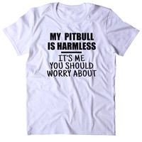 My Pit Bull Is Harmless It's Me You Should Worry About Shirt Dog Breed Animal Lover Owner Tumblr T-shirt