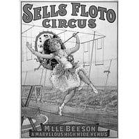 Vintage Circus poster Metal Sign Wall Art 8in x 12in Black and White