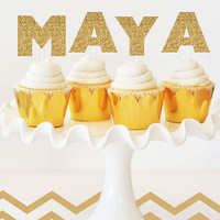 Gold Glitter Letter Cake Topper (Set of 6)