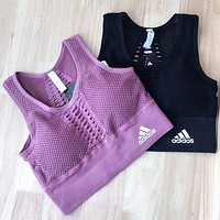 Adidas Fashion New Letter Print Sports Work Out Vest Top Women