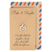 Evie Mother's Heart Necklace, Mothers Day Jewelry with Greeting Card