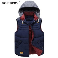 SOFIBERY Vest Brand Men Sleeveless Jacket Winter Casual Down Vest Cotton-padded Slim Men's Vest
