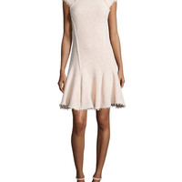 Cap-Sleeve Boucle Fit-and-Flare Dress, Vanilla