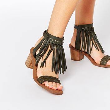 ALDO Cayley Leather Fringe Wooden Heel Sandals
