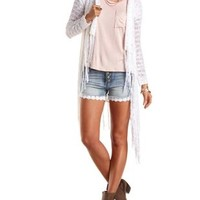 Hooded Fringe Cascade Cardigan Sweater by Charlotte Russe - White