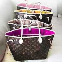 LV Louis Vuitton Neverfull GM Monogram Handbag Shoulder Bag Two-Piece Set