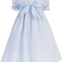 Light Blue Striped Cotton Seersucker Spring Dress with Poly Silk Trim (Baby Girls 3 - 24 months )