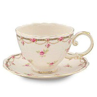 Petite Fleur Porcelain Teacups - Set of 2 cups and 2 Saucers