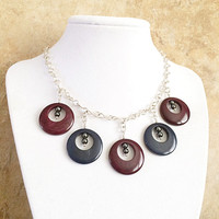 Tagua Nut Necklace, Sterling Jewelry, Round Pendants