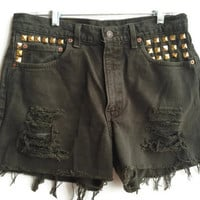 High Waisted Levi Denim Shorts Army Green Studded Jean Shorts Size 12/13