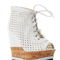 Lilliana Caged Peep Toe Lace Up Wedge Bootie