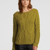 HALSTON HERITAGE Boat Neck Cable Knit Sweater | Bloomingdale's