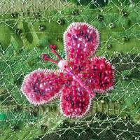Beaded butterfly card - pink butterfly on green patchwork - 5 inch square card - fabric art card