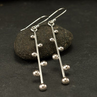 """Long Sterling Silver Earrings- Silver Dangle Earrings- Modern Silver Earrings- Long Bar Earrings- Modern Silver Jewelry- """"Dotted Lines"""""""