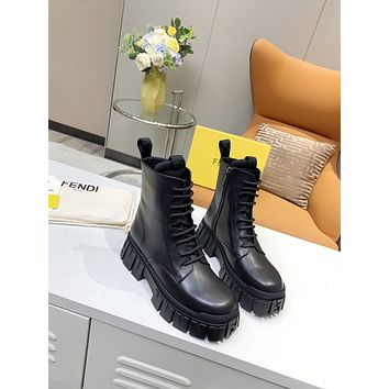 FENDI2021  Trending Women's men Leather Side Zip Lace-up Ankle Boots Shoes High Boots10100wk