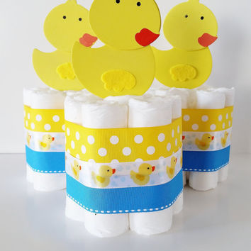 Rubber Ducky Baby Shower Centepieces, Rubber Ducky Diaper Cake, Mini Diaper Cakes, Gender Neutral Baby Shower Decor, Gender Reveal