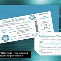 DIY Printable Wedding Boarding Pass Luggage Tag Template | Invitation | Editble MS Word file | Instant Download | Hawaii Oasis Turquoise