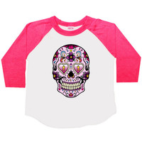 Sugar Skull Three Quarter Sleeve American Apparel Raglan Kids T Shirt Boys or Girls Funny Shirt Baby Toddler Baseball Tee Cinco de Mayo 103