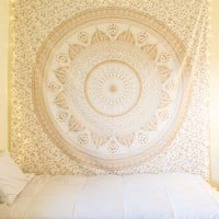 Gold Color Long Leaf Ombre Mandala Wall Tapestry on RoyalFurnish.com