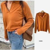 Hot Sales New Arrivals Winter Spring Women Basic Wear Loose Casual V Neck Solid Color Knit Pullovers Tops Sweaters O813