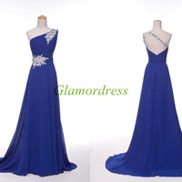 unique one shoulder chiffon prom dresses with rhinestone floor length elegant evening dress with train cheap party gowns for girls