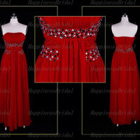 A-line Strapless Chiffon Floor-length Beaading Red Bridesmaid Dresses Long Prom Dresses Formal Dresses  Evening Dresses Party Dresses 2013