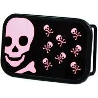Skull With Babies Belt Buckle