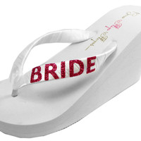 Wedding Sandals with Wedge Heel- Bling for the Bride Flip Flops