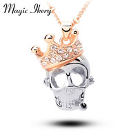 18K Rose Gold Plated Rhinestone Crystal Crown Skull Skeleton Necklaces Pendants Fashion Jewelry for women
