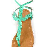 Subrina 32 Mint Braided Ankle Strap Thong Sandals