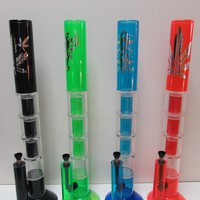 """18"""" 3 Perc One Honeycomb Colored Acrylic Water Pipe"""