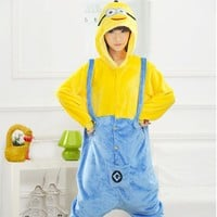 New 2017 Winter Christmas Sleepwear Hoodie Pyjamas Adult Despicable Me Minion Onesuit Cosplay Costume Adult Minion Pajamas
