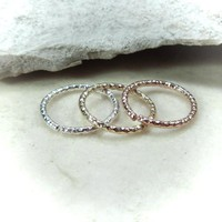 Nose Ring Set of 3 Faceted Endless Gold/Silver/Pink Gold