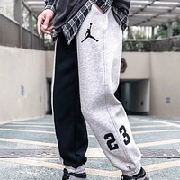 Jordan Fashion New embroidery people letter print couple contrast sports leisure pants