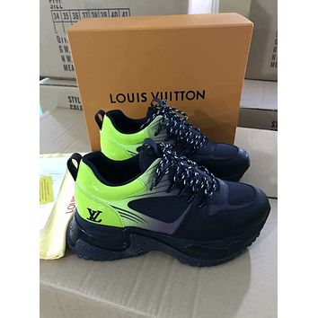 LV Louis Vuitton Men's Leather Run Away Pulse Sneakers Shoes