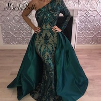 modabelle Sexy Sparkly Detachable Train Prom Dresses Sequin Green Long Saudi Arabic Formal Dress 2018 Robe Dubai Soiree Kaftane