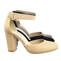 Kaili Chunky Block Heel Dress Pump w Comfortable Foam Padding & Ankle Strap