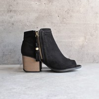 final sale - vegan suede tassel block heeled ankle boots - black