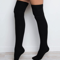 Miss You Thigh High Socks - Black