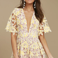 NBD Mila Beige and Yellow Lace Romper