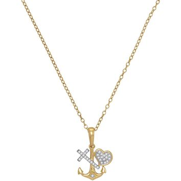 10kt Yellow Gold Womens Round Diamond Heart Cross Anchor Pendant Necklace 1/12 Cttw
