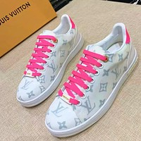 LV Shoes black sports shoes flat white shoes lace up pink