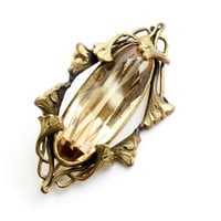 Antique Art Nouveau Amber Stone Brooch - Large Oblong Oval Faceted Yellow Glass Brass Jewelry Pin / Interlocking Flowers