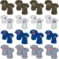 2016 World Series Champions patch women 17 Kris Bryant 49 Arrieta 44 Anthony Rizzo 12 Kyle Schwarber Chicago Cubs Baseball Jersey stitched