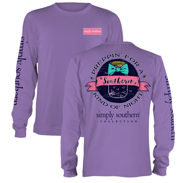 Image of Simply Southern Preppy Kind Of Night Mason Jar Bow Long Sleeve T-Shirt