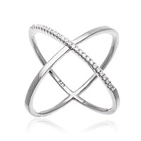 """925 Sterling Silver Elegant Criss Cross """"X"""" Ring with Stones"""